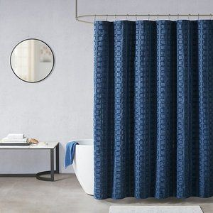 Madison Park Metro Woven Clipped Shower Curtain